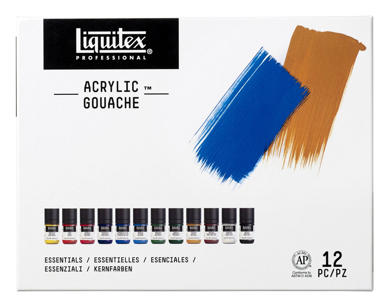 Liquitex Acrylic Gouaches, 37/50 Ounces, Assorted Essential Colors, Set of 12