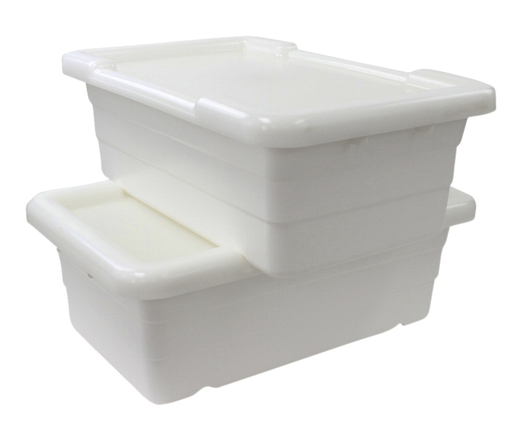 Shirley K's Cross Stack Tub with Lid, 17-1/4 x 11 x 8 Inches, White, Pack of 6
