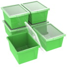 Storex Storage Bins with Lids, 13-5/8 x 11-1/4 x 7-7/8 Inches, Green, Pack of 6