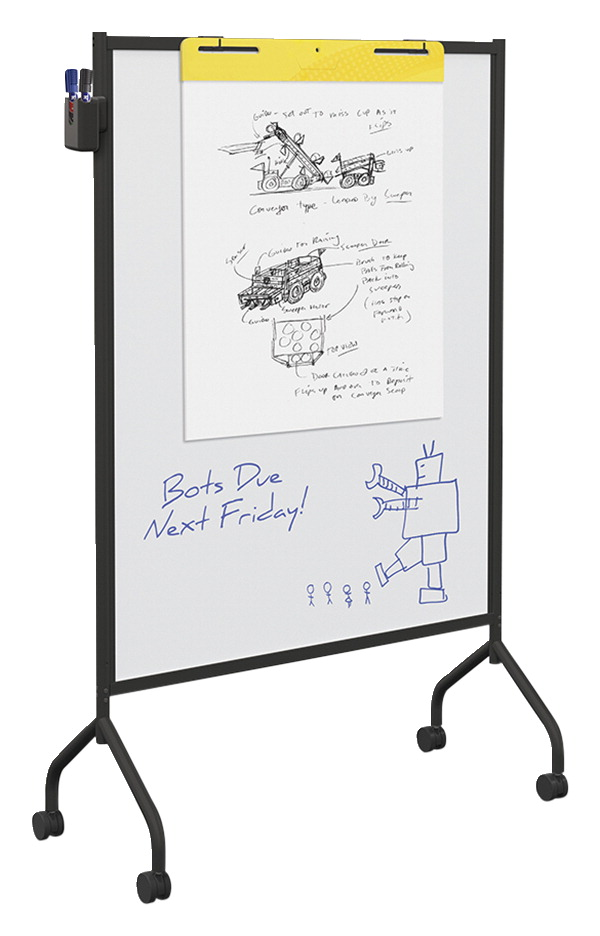 Essentials by MooreCo Mobile Whiteboard, Non-Magnetic, Black