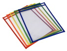 School Smart Reusable Dry Erase Pockets, 10-1/2 x 13 Inches, Assorted, Set of 25