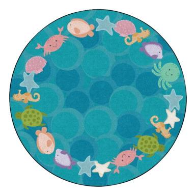 Childcraft Cushy Ocean Wonder Carpet, 6 Feet, Round