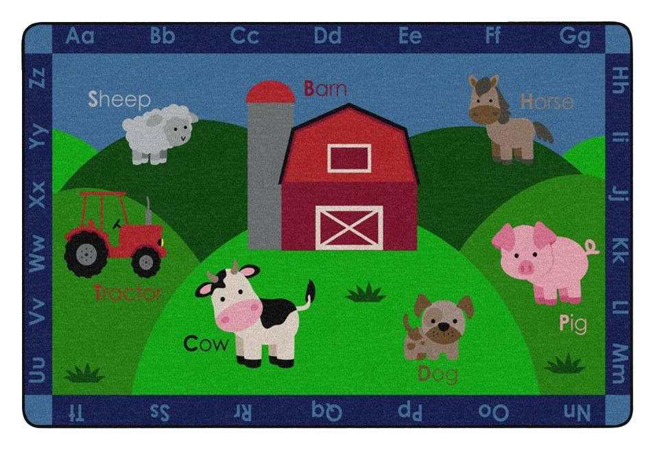Childcraft Barnyard Friends Carpet, 8 x 12 Feet, Rectangle