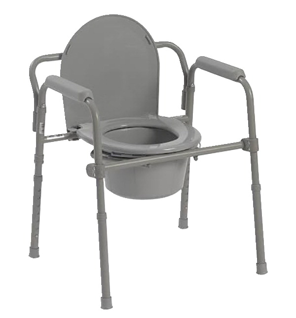 Drive Medical Folding Steel Commode with Deep Seat