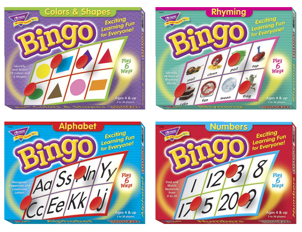 Trend Enterprises Early Language Assorted Shape Bingo Game Set, Assorted Color, 4+ Years, Set of 4