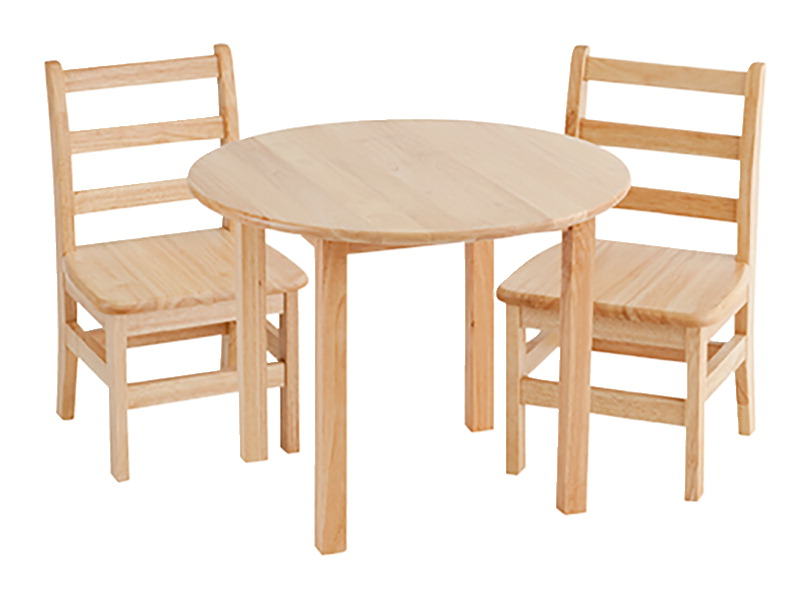 ECR4Kids Hardwood Table and Chair Set, 30 Inch Round, 22 Inch Legs, Two 12  Inch Chairs