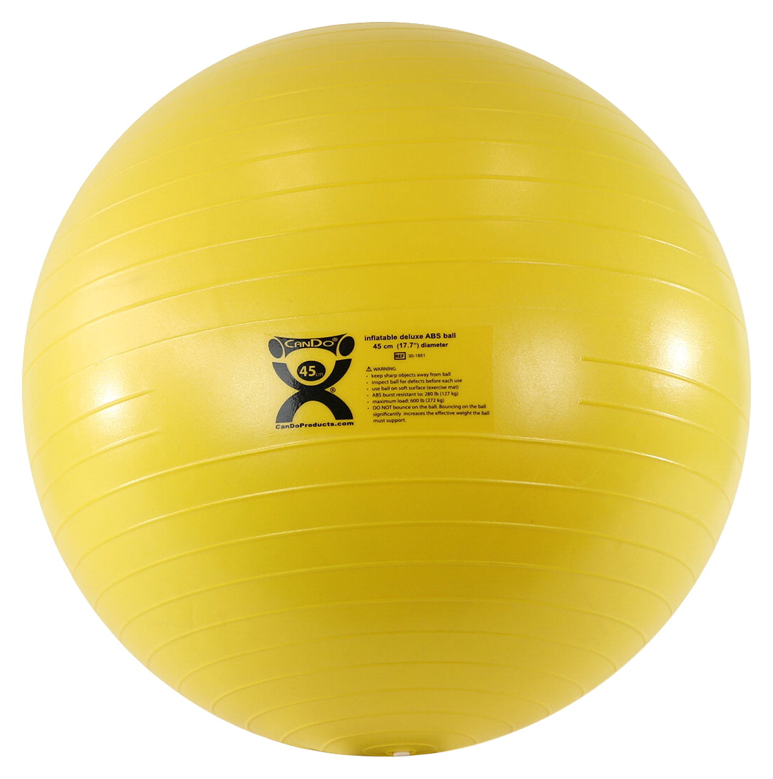 CanDo Inflatable Exercise Ball, Extra Thick ABS, 18 Inches, Yellow
