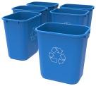 School Smart Indoor Recycle Waste Basket, 28 Quart, Blue, Case of 6
