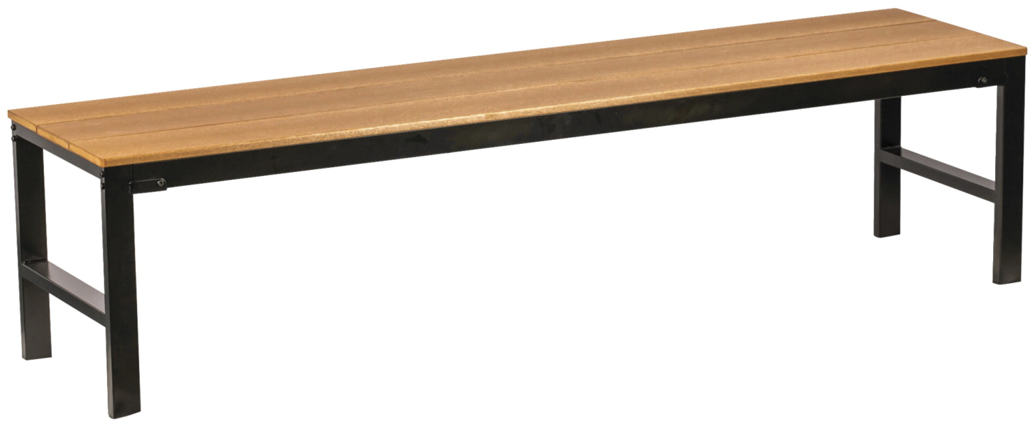 Lorell Teak Outdoor Bench - Bench, Outdoor, Faux Wood, 72 x 18 x 18 Inches, Teak/Black