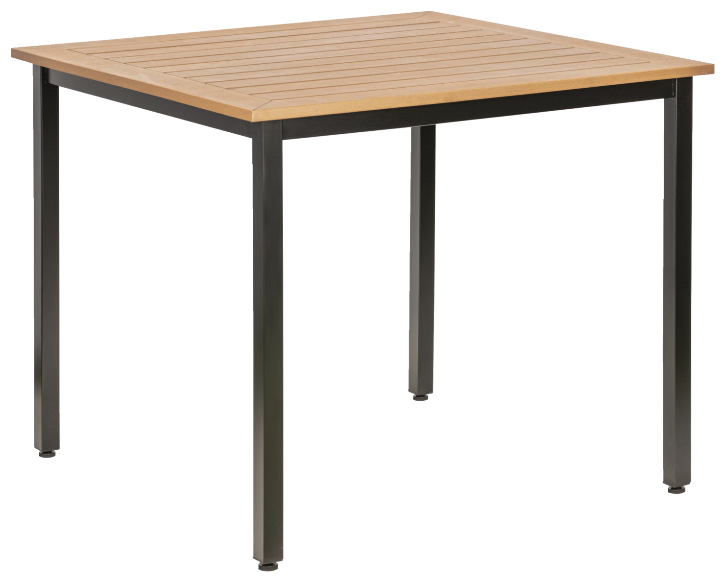 Lorell Teak Outdoor Table -- Table, Outdoor, Faux Wood, 36-5/8 x 36-5/8 x 30-3/4 Inches. Teak/Black.