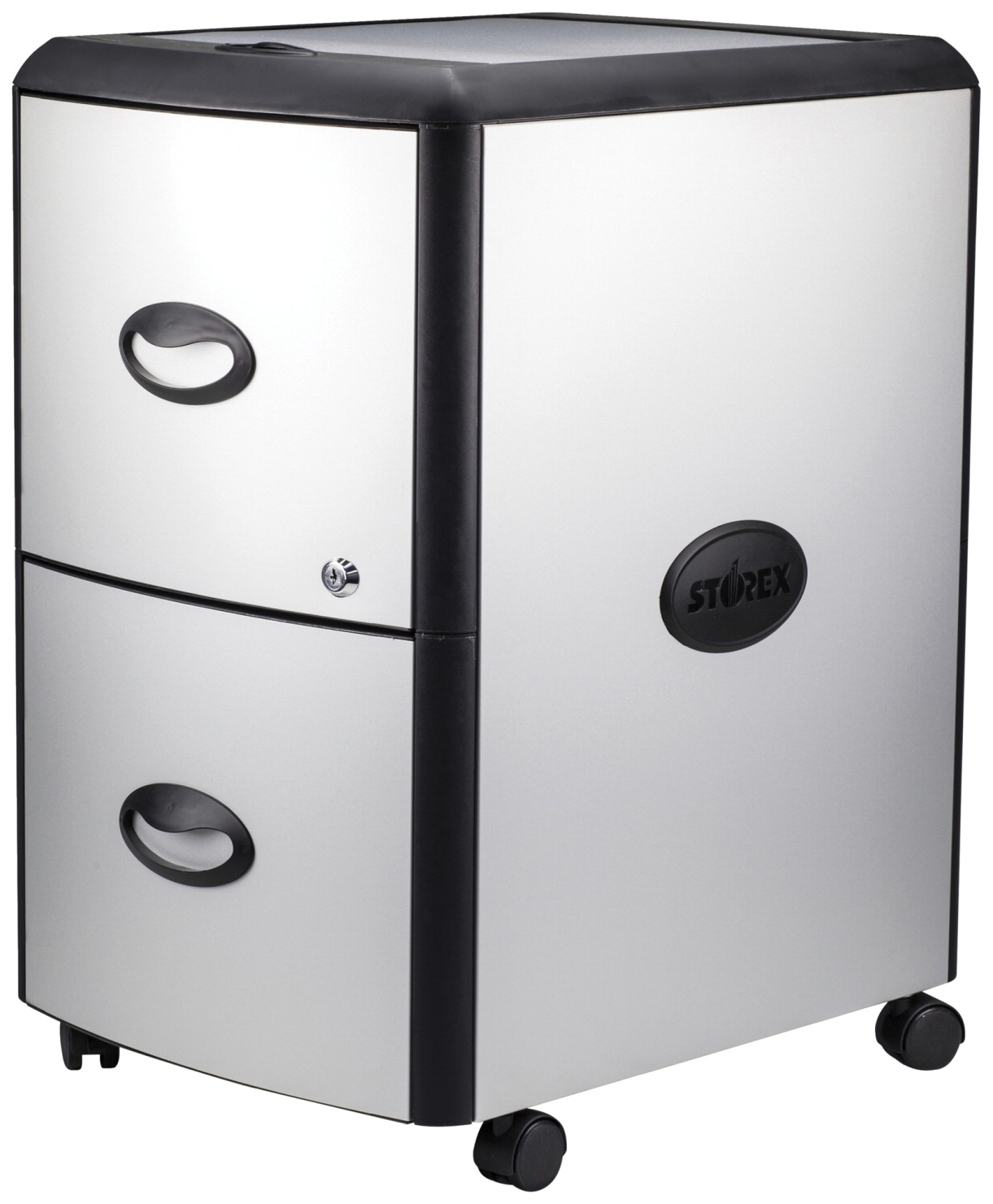 Storex Ind. Hard Top Mobile Filing Cabinet -- File Cabinet, Mobile, Metal,  Letter/Legal, 35 x 35 x 35 Inches, PLATINUM/GRAY