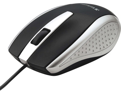 Verbatim Corded Notebook Optical Mouse -- Mouse, Optical, Corded, f/PCs & Macs, Silver/Black
