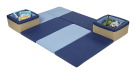 ECR4Kids SoftZone Floor and Store Activity Mat, 76 x 57 x 10 Inches, Blue and Tan