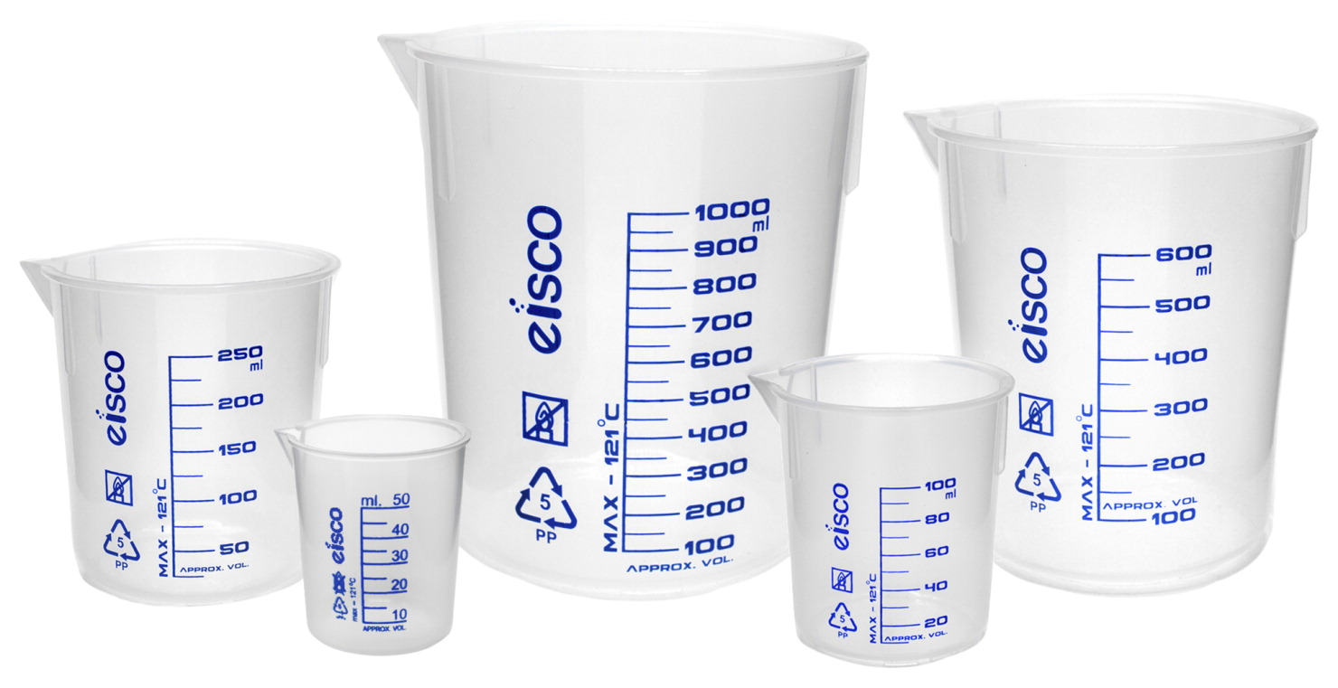 Eisco Polypropylene Laboratory Beaker Set, Screen Printed, Set of 5