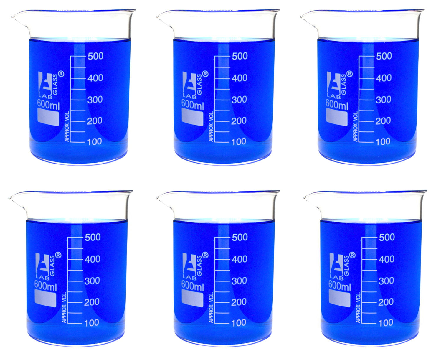 Eisco 600mL Borosilicate Glass Beakers with Spout, Low Form, Pack of 6