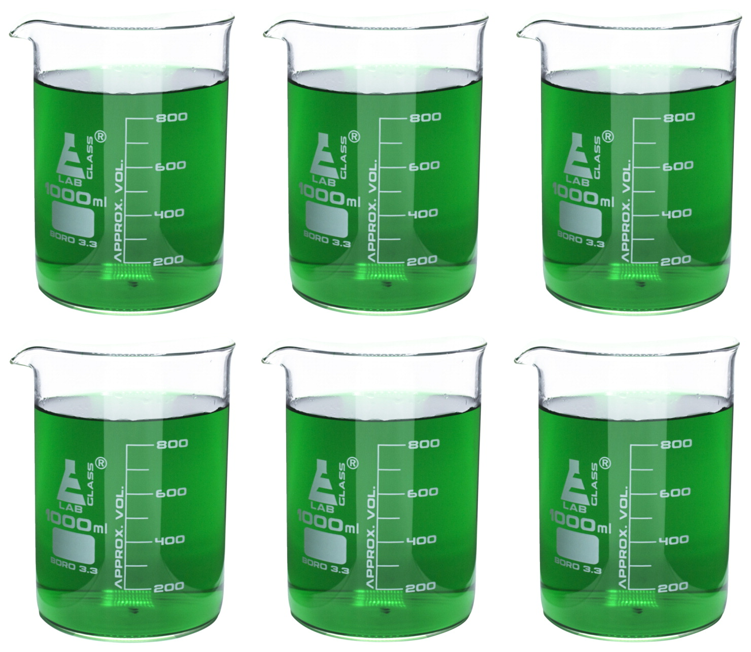 Eisco 1000mL Borosilicate Glass Beakers with Spout, Low Form, Pack of 6