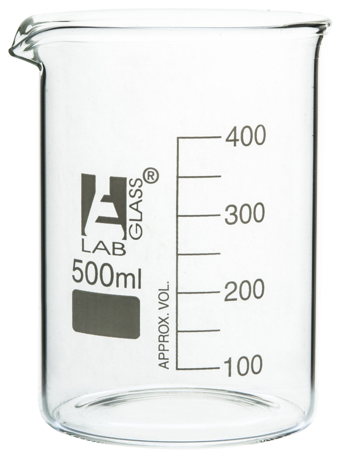 Eisco 500mL Borosilicate Glass Beaker with Spout, Low Form