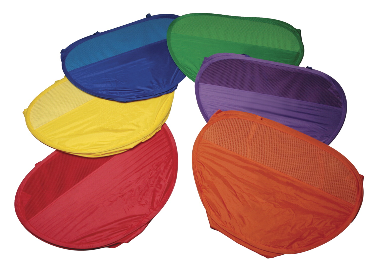 Sportime Tote-N-Target Fold Up Basket Set, 14 X 21 X 21 in, Assorted Color, Set of 6