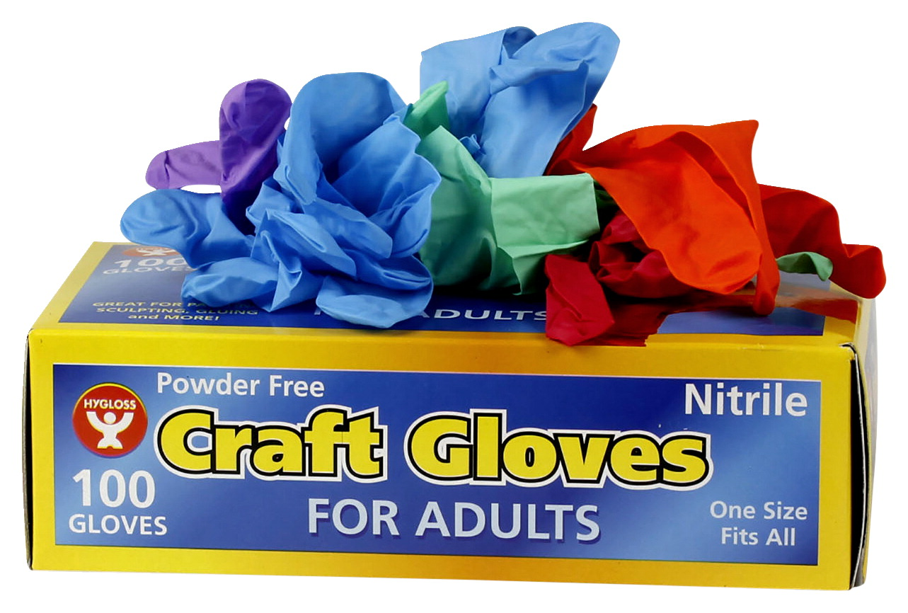 Hygloss Craft Gloves, Adult Size, Latex Free, Assorted Colors, Pack of 100