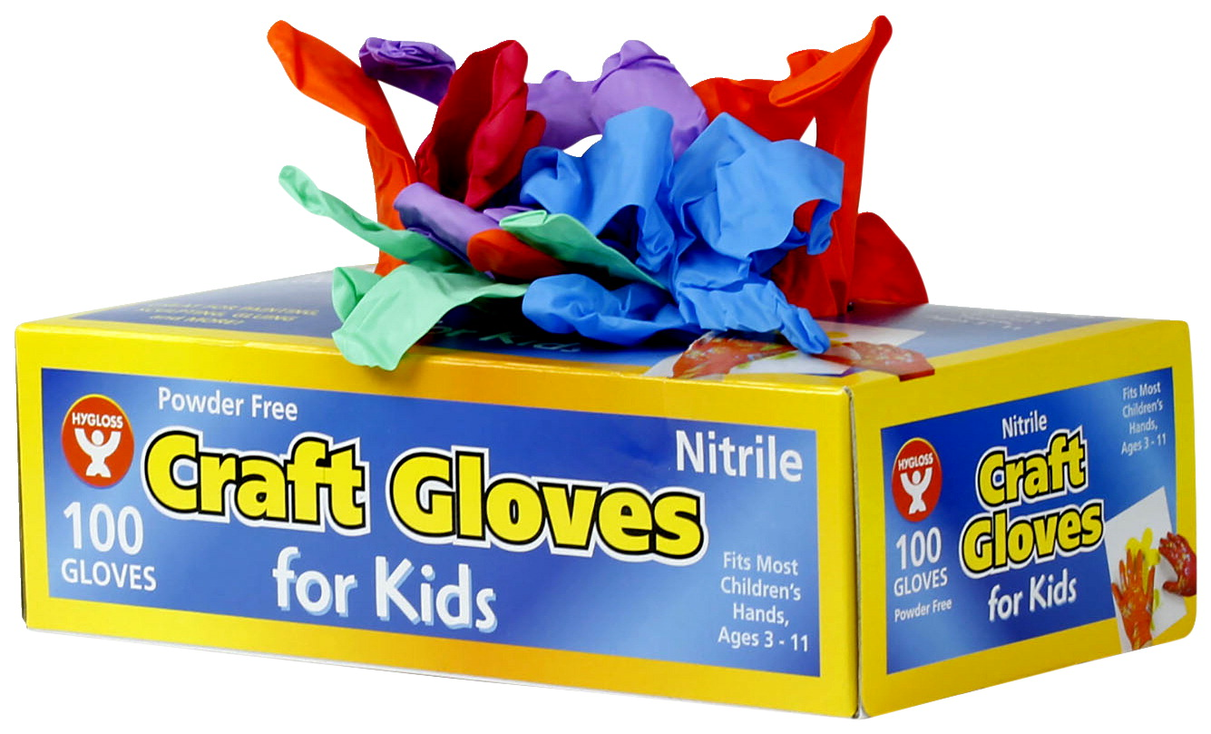 Hygloss Craft Gloves, Kid Size, Latex Free, Assorted Colors, Pack of 100