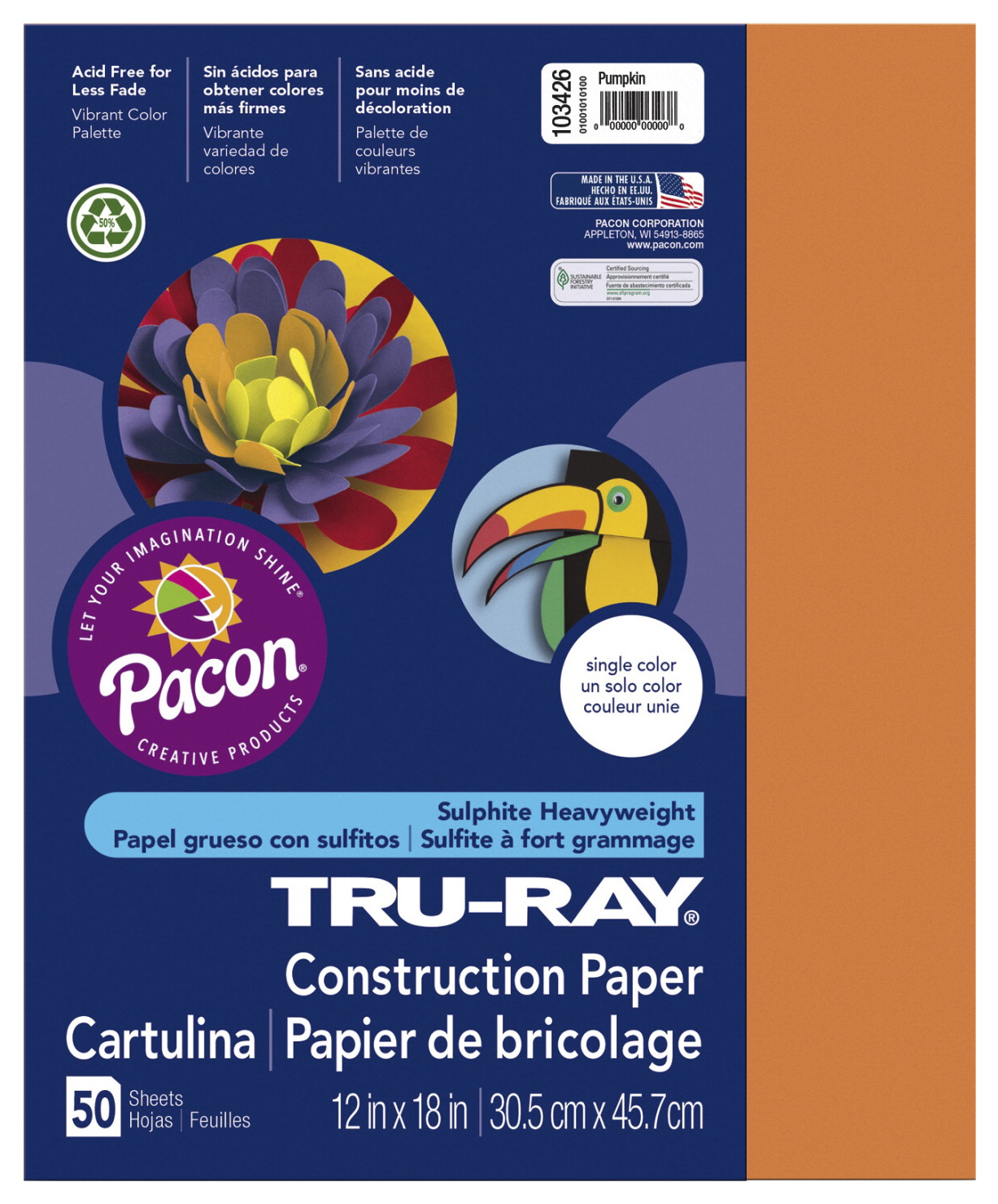 Tru-Ray Sulphite Construction Paper, 12 x 18 Inches, Pumpkin, 50 Sheets