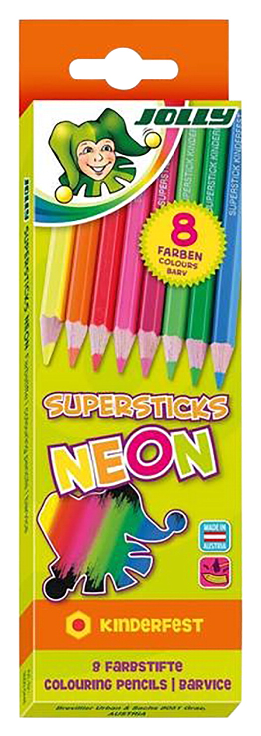 Jolly Supersticks Neon Colored Pencils, Assorted Colors, Set of 8