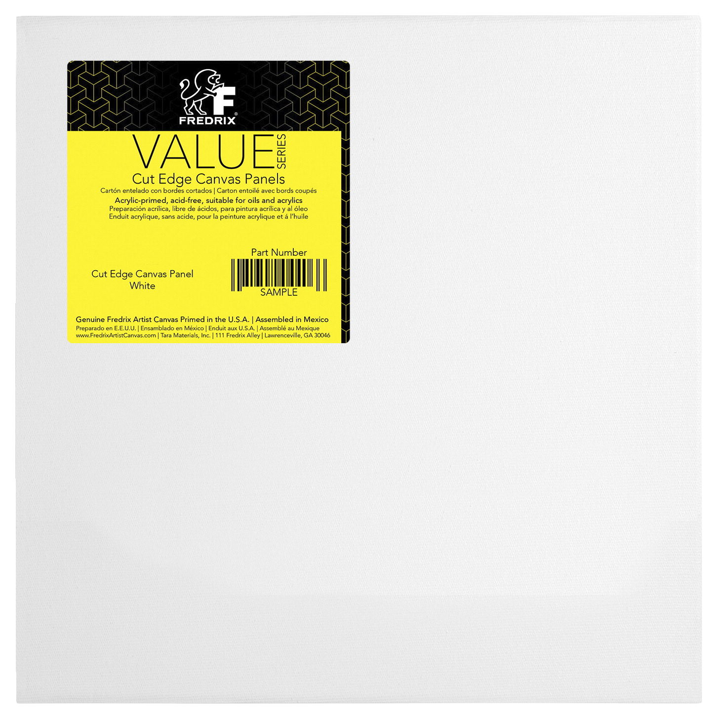 Fredrix Value Series Cut Edge Canvas Panel, 12 Inch Square, White, Pack of 25