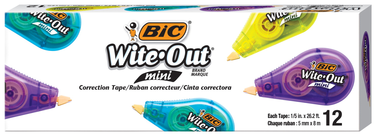 BIC Wite-Out Mini Correction Tape, 1/5 Inches x 26-1/5 Feet, White, Pack of 12