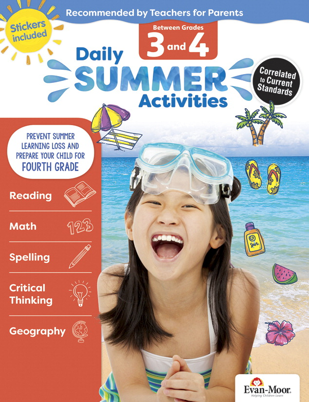 Evan-Moor Daily Summer Activities Workbook, 144 Pages, Grades 3 to 4