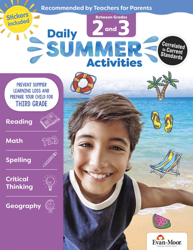 Evan-Moor Daily Summer Activities Workbook, 144 Pages, Grades 2 to 3