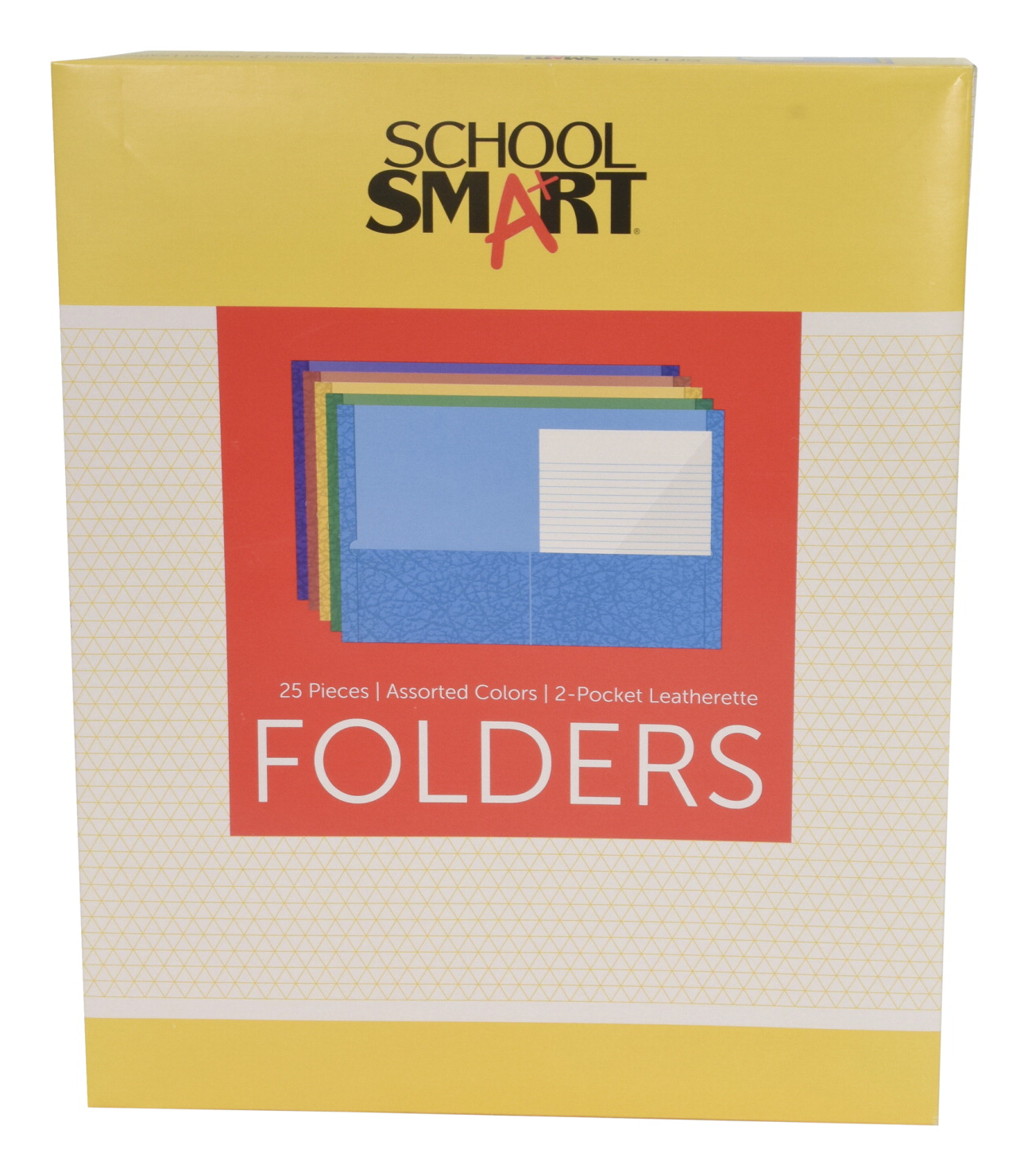 School Smart 2-Pocket Folders, Assorted Colors, Pack of 25