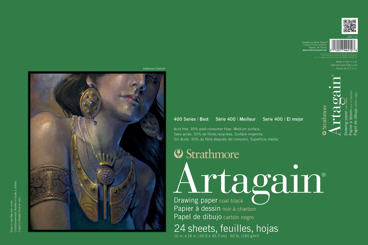 Strathmore Artagain 400 Series Drawing Paper 12 X 18 Inches 60 Lb Black 24 Sheets