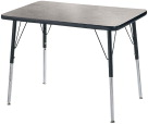 Classroom Select T-Mold Activity Table, Gray Nebula Top, Black Edge, Rectangle, 15-25 Adjustable Height, 30 x 60 Inches