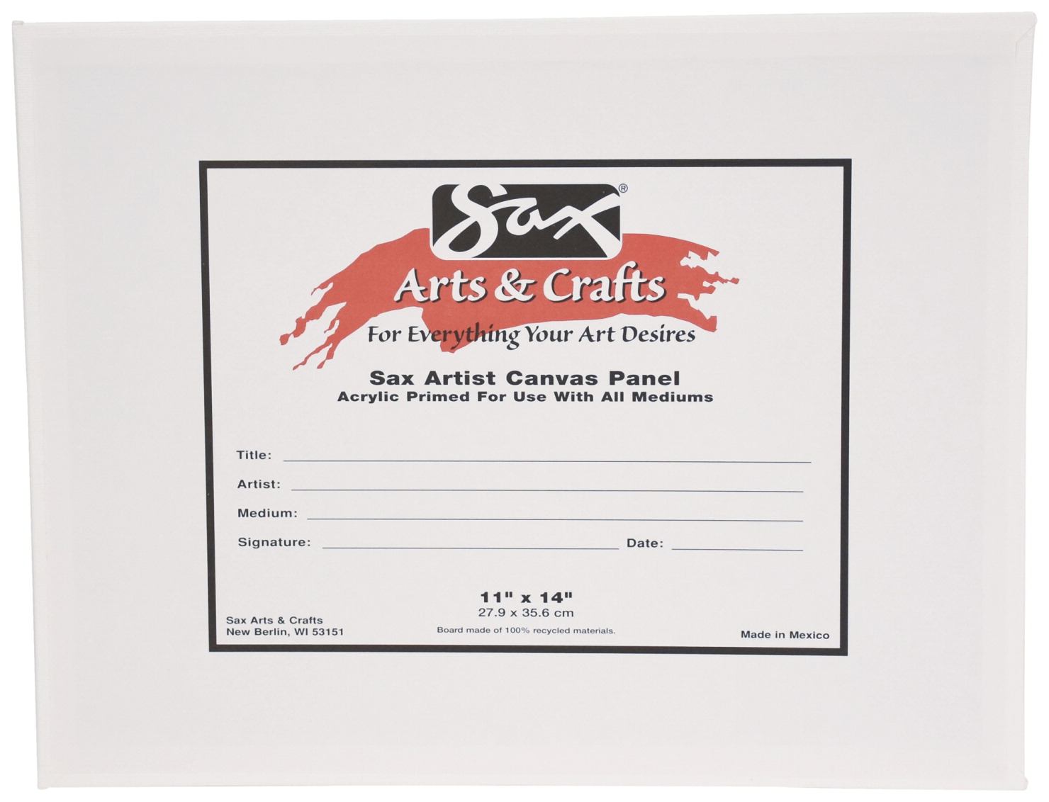 Sax Genuine Canvas Panel, 11 x 14 Inches, White