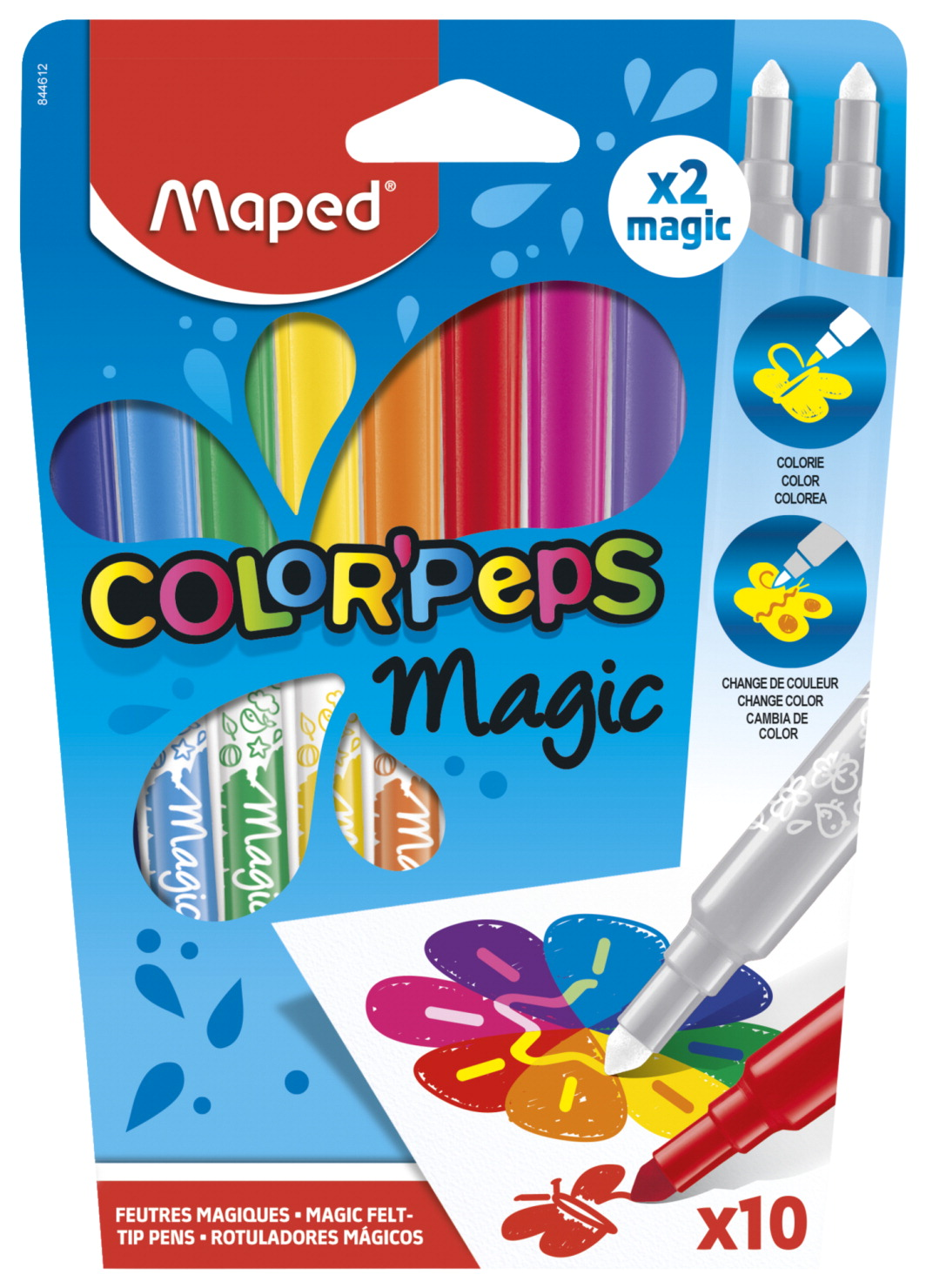 Maped Color'Peps Magic Markers, Assorted Colors, Set of 10