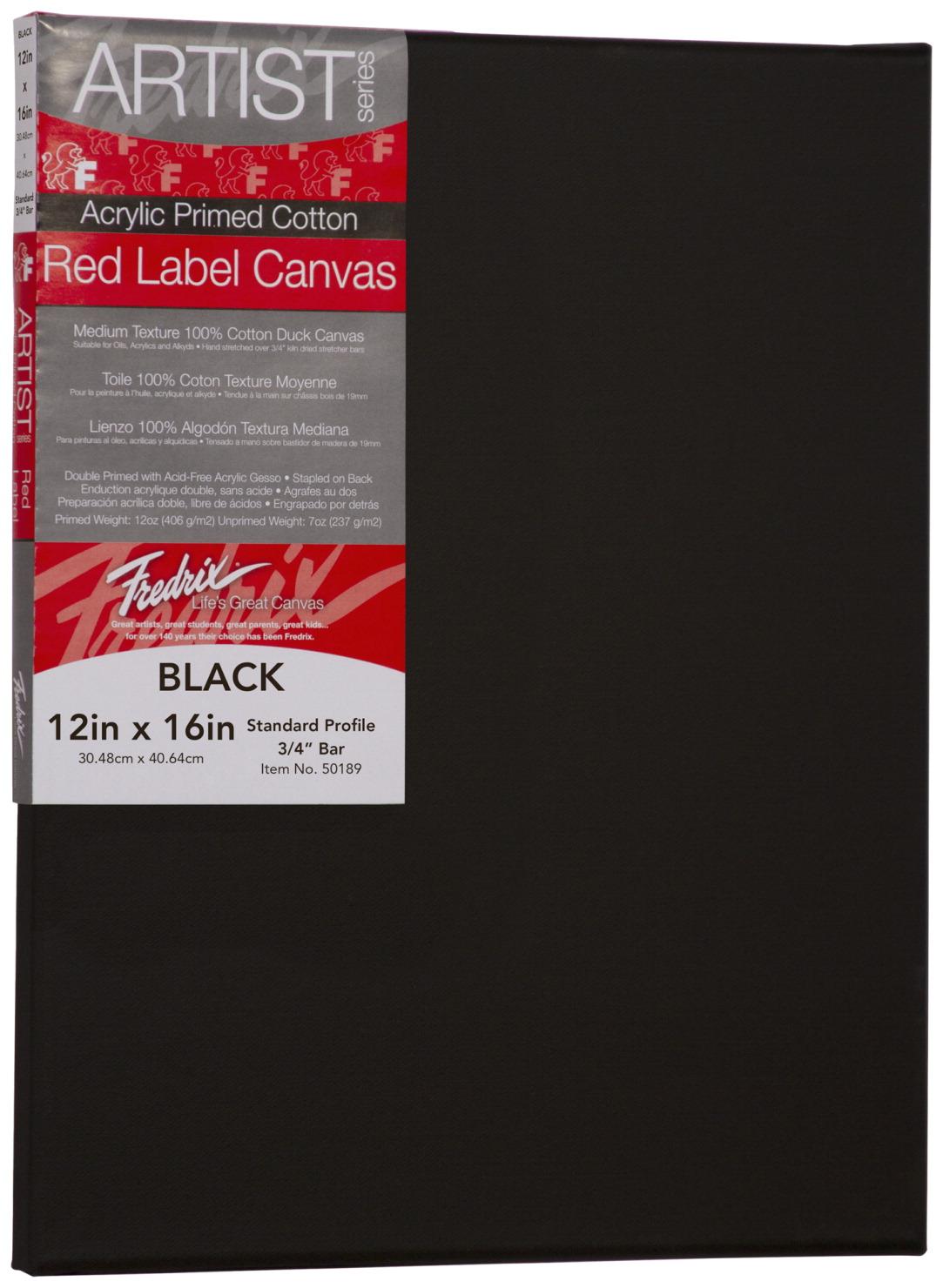 Fredrix Red Label Canvas 12 x 16 in, Black