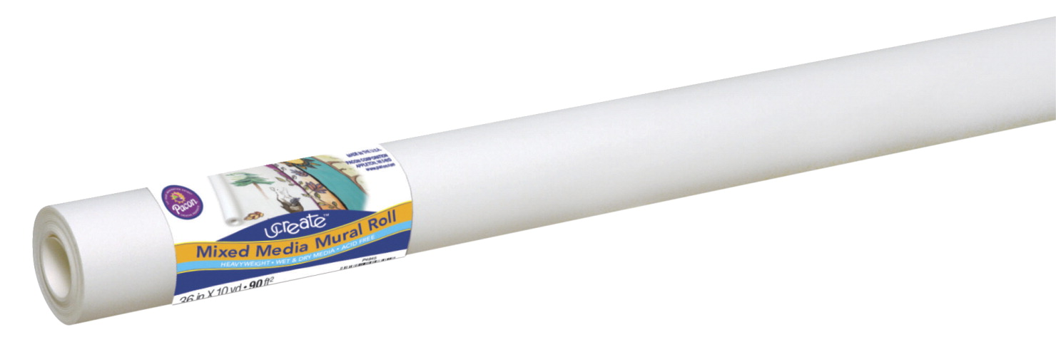 Ucreate Mixed-Media Art Paper Roll, 80 lb., 36 Inches x 30 Feet, White