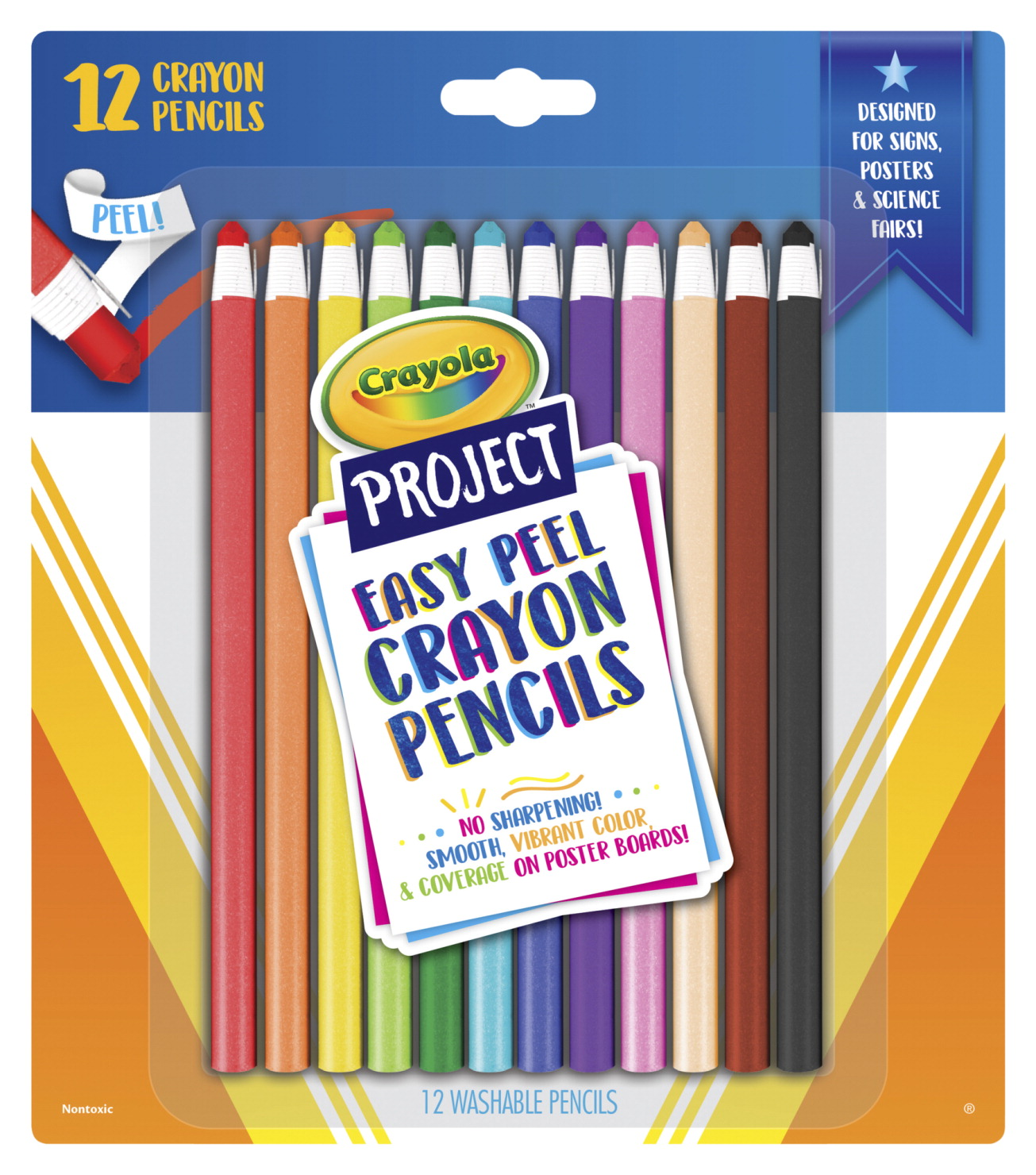 Crayola Project Easy Peel Crayon Pencils, Washable, Assorted Colors, Set of 12