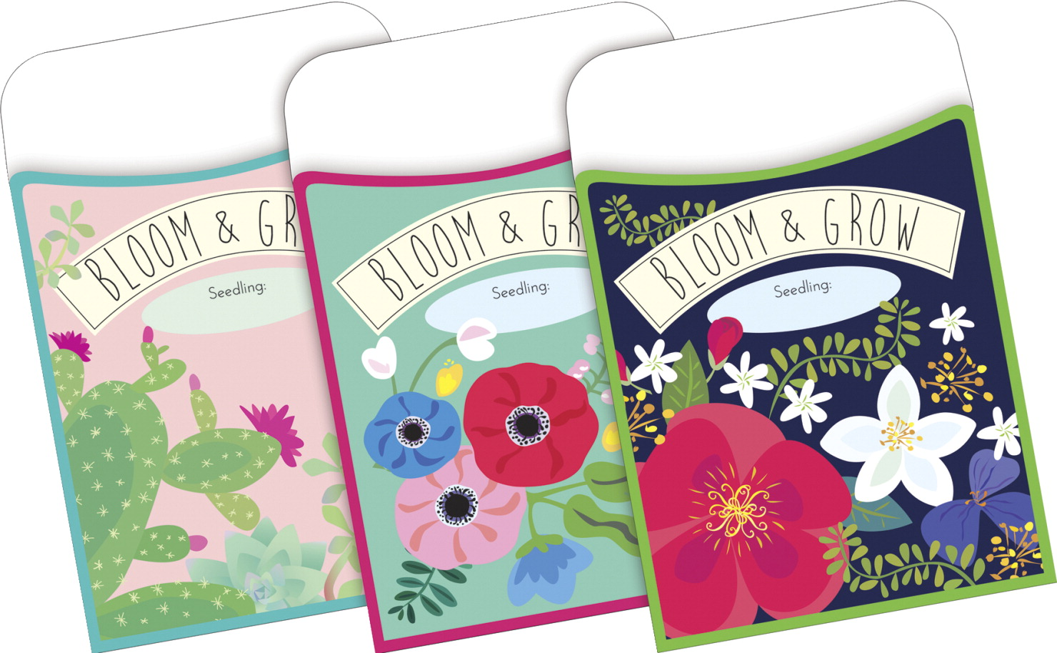 Barker Creek Peel and Stick Library Pockets, Petals & Prickles, Set of 30