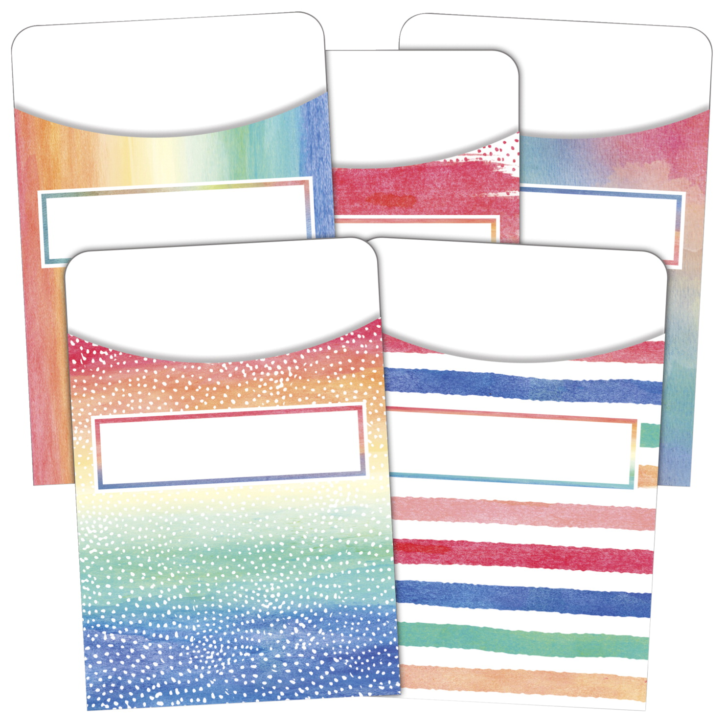 Teacher Created Resources Library Pockets, 3-1/2 x 5 Inches, Watercolors, Set of 35