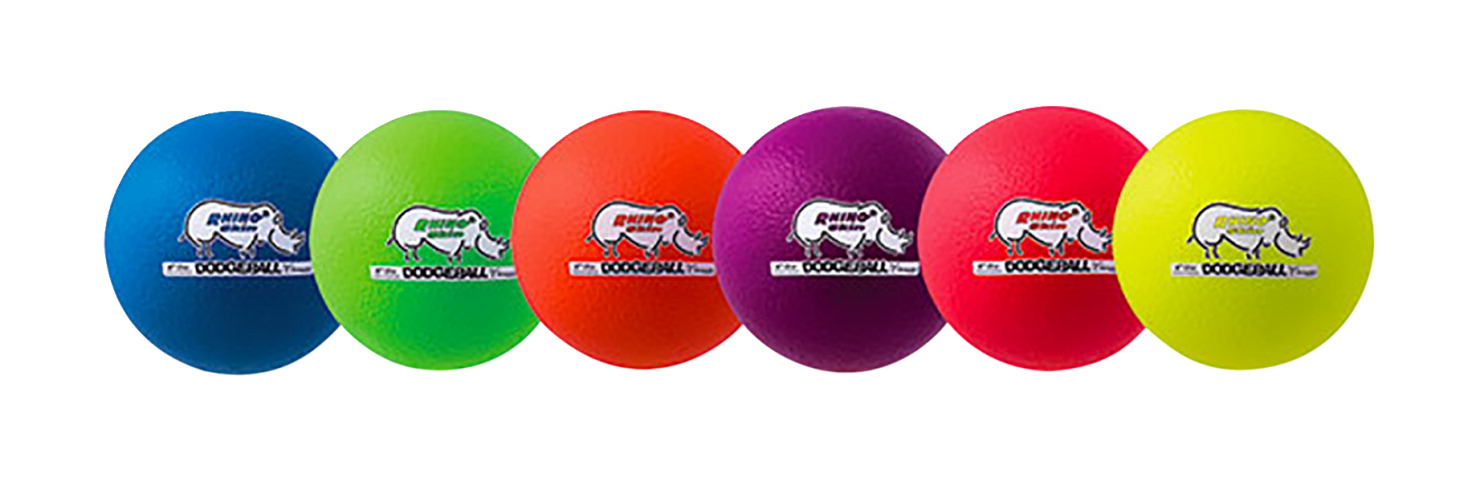 Champion Sports Rhino Skin Dodgeballs, 6-3/10 Inches, Assorted Colors, Set of 6