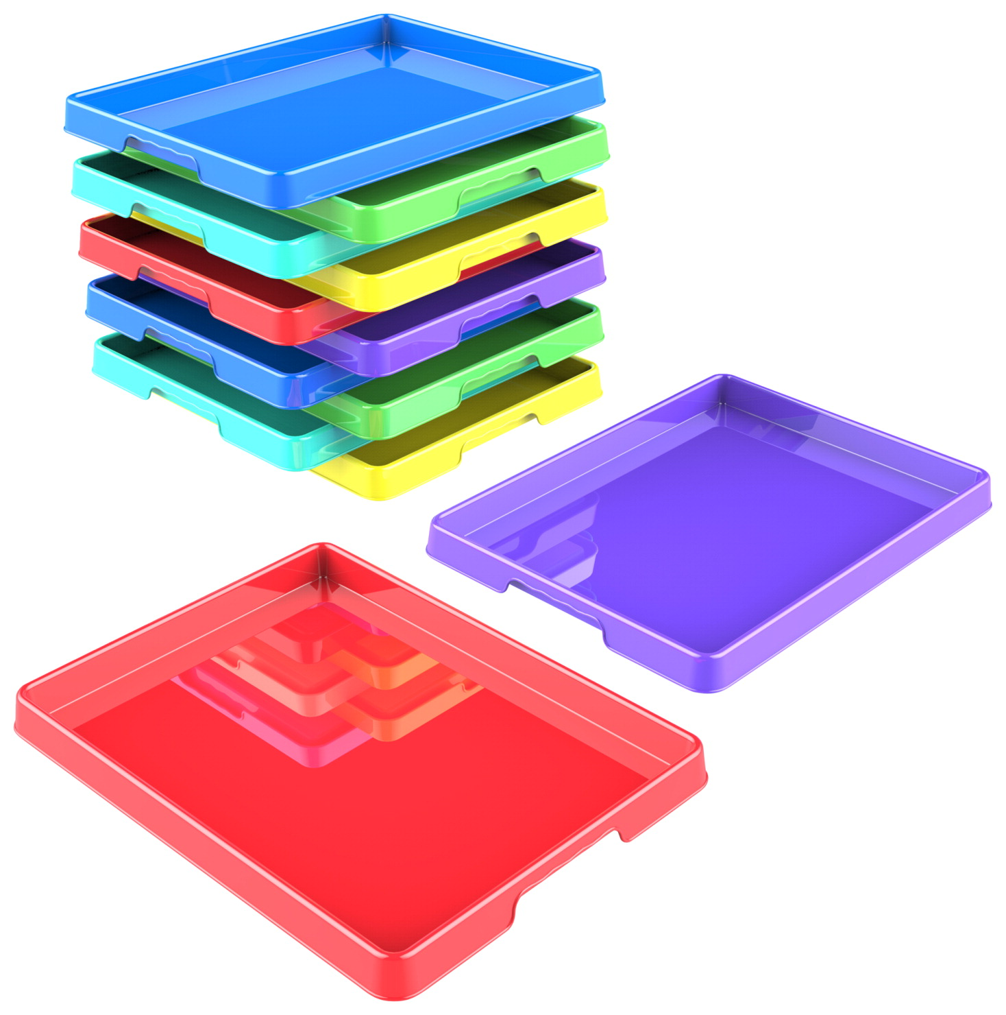 Storex Sorting and Crafts Tray, 12 x 16 Inches, Assorted Colors, Set of 12