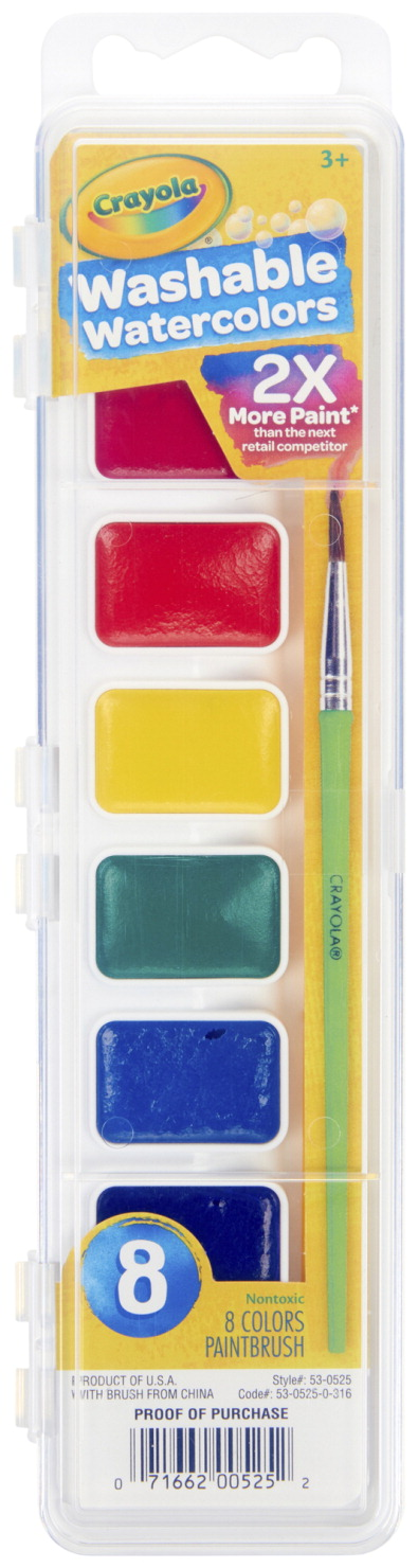 Crayola Non-Toxic Washable Semi-Moist Watercolor Paint Set, Plastic Square Pan, 8 Assorted Colors