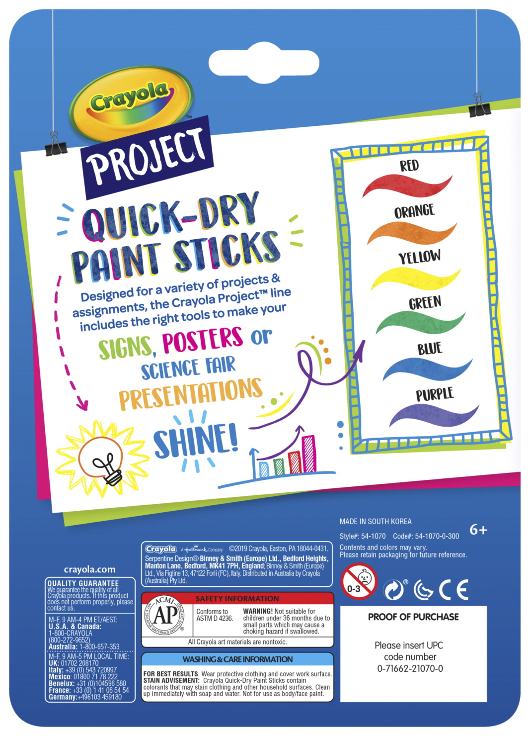 Crayola Project Quick Dry Paint Sticks Set Of 6 Assorted Colors School Specialty Canada