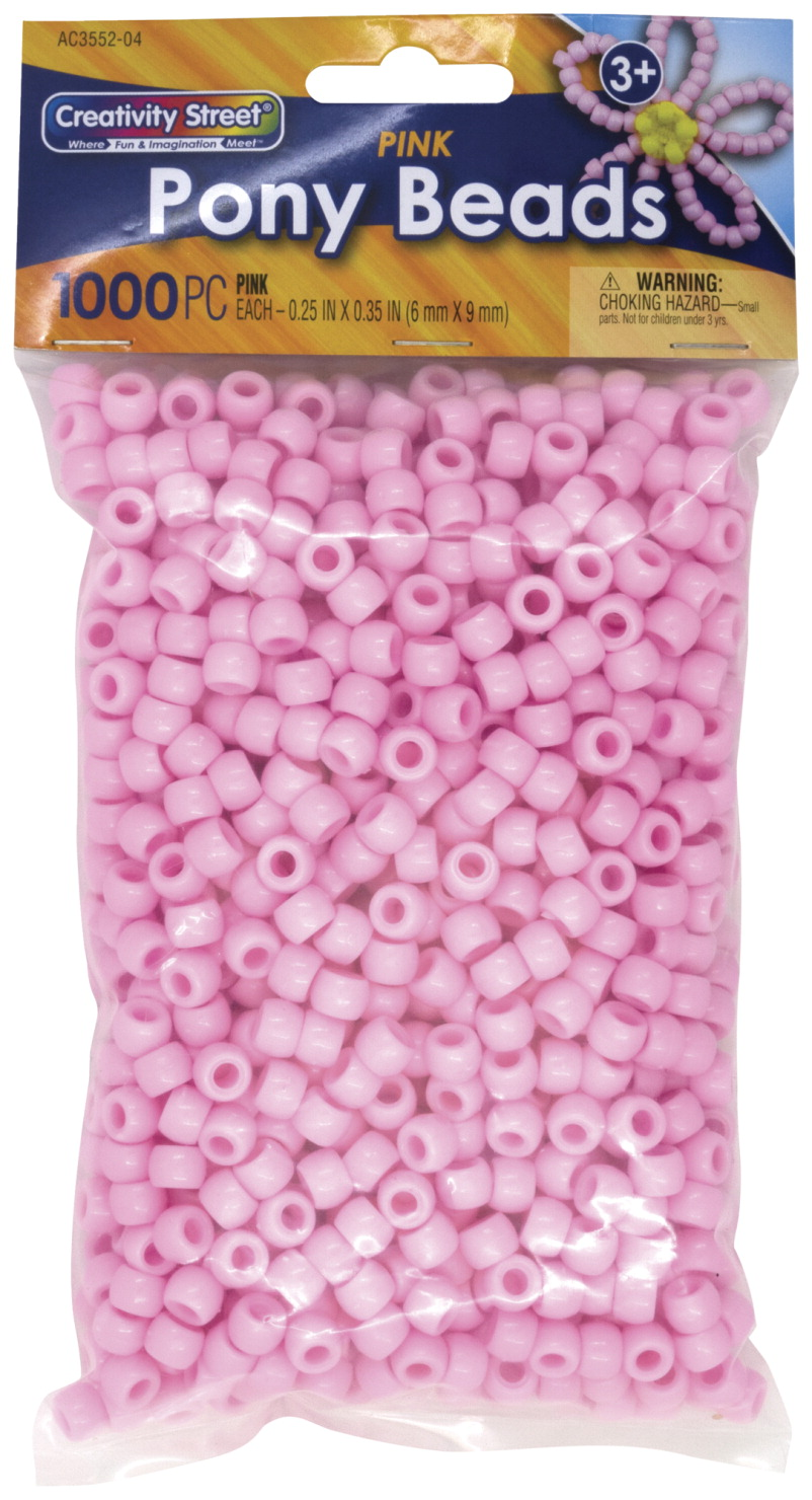 Creativity Street Pony Beads, 6 x 9 Millimeters, Pink, Pack of 1000