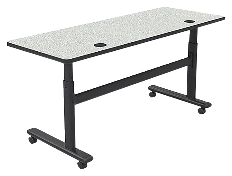 MooreCo Sit/Stand Flipper Table, 72 x 24 x 28-1/2 to 45 Inches, Black Frame, Various Options