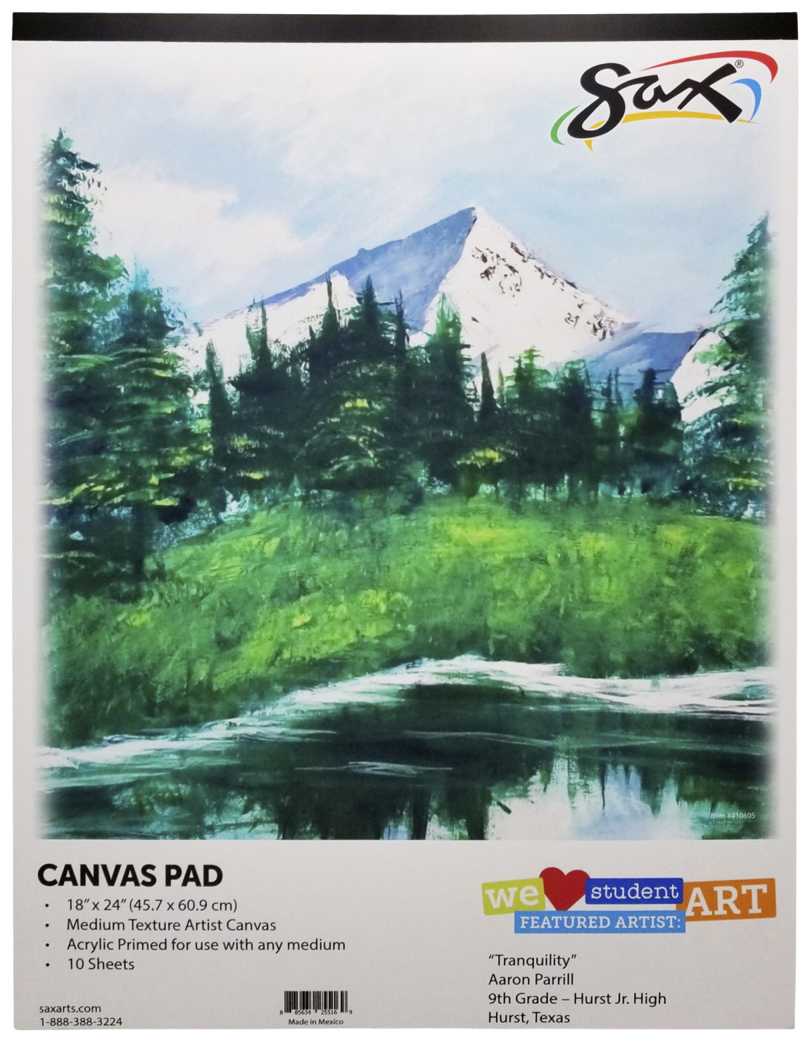 Sax Genuine Primed Canvas Pad, 18 x 24 Inches, White, 10 Sheets/Pad