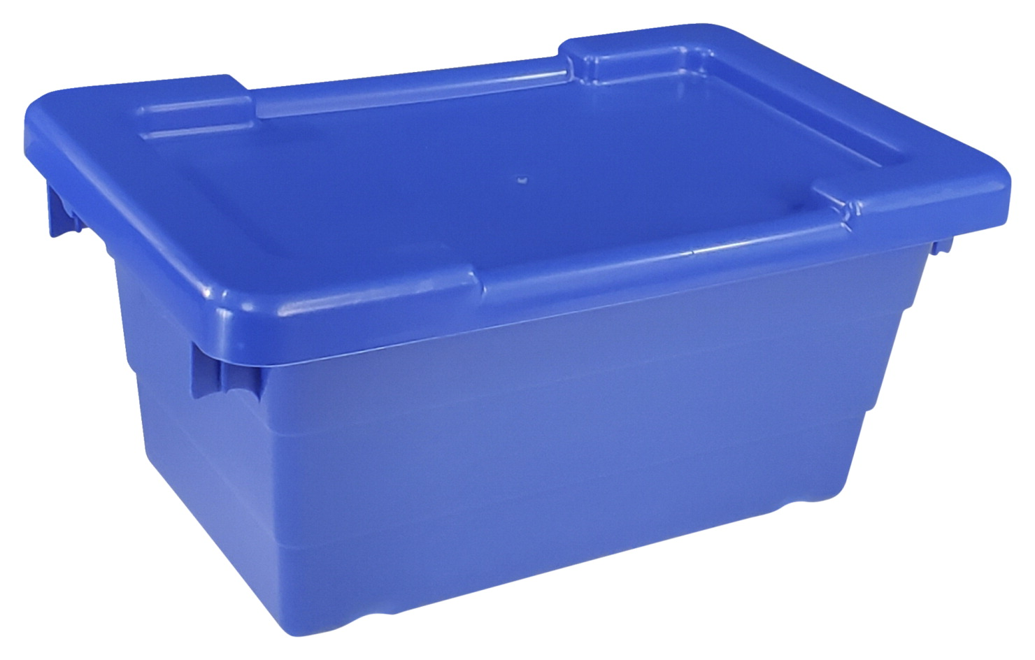Shirley K's Cross Stack Tub with Lid, 17-1/4 x 11 x 8 Inches, Blue, Pack of 6