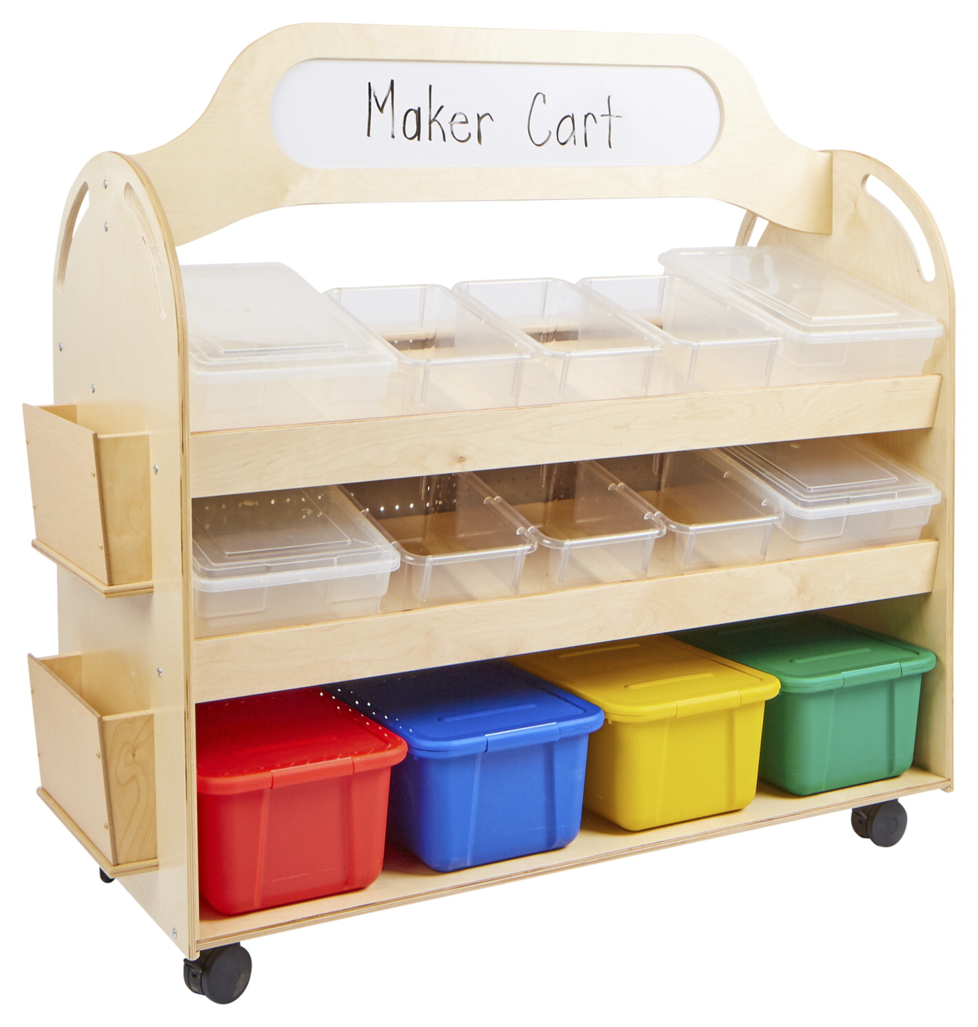 Childcraft Mobile Makerspace Cart, Clear and Assorted Trays, 48-1/4 x 22-1/2 x 49 Inches