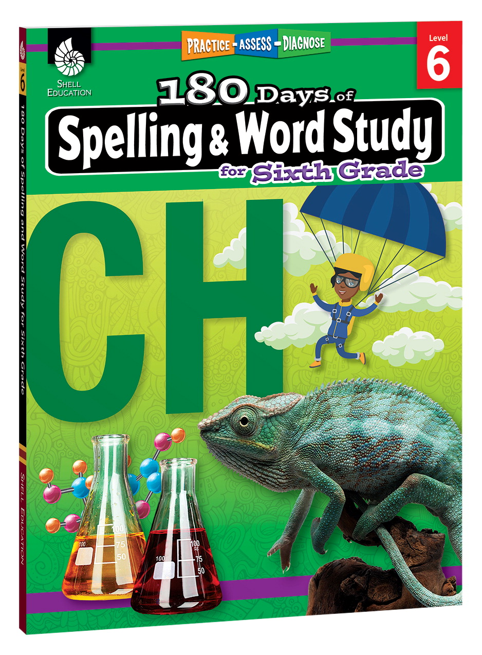 Shell Education 180 Days of Spelling and Word Study, Grade 6